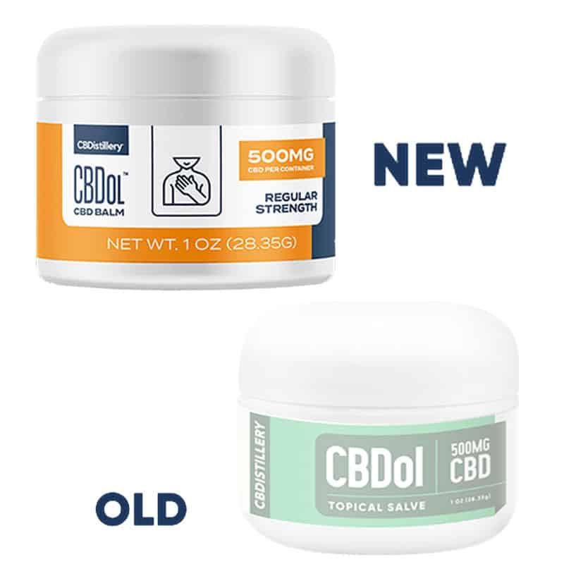 CBDistillery CBDol CBD Topical Salve 500 MG Label Comparison