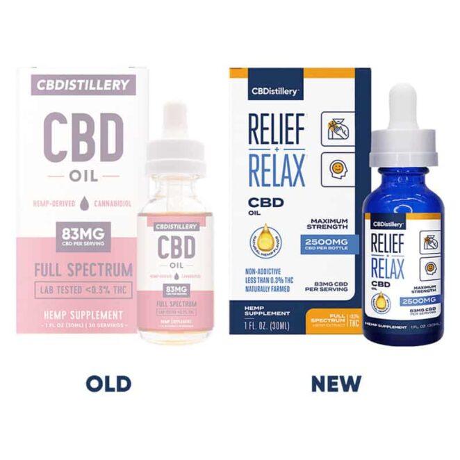 CBDistillery-Full-Spectrum-2500-mg-Relief-Relax-CBD-Oil-Tincture-Old-vs-New-Label-Change