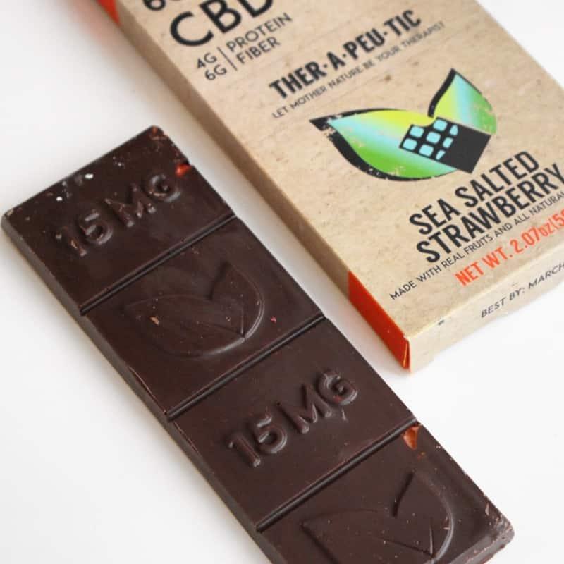 Therapeutic Treats Sea Salted Strawberry CBD Chocolate Bar