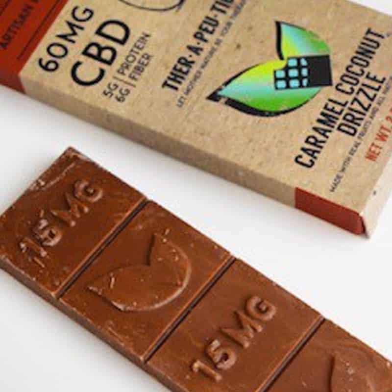 Therapeutic Treats Caramel Coconut Drizzle CBD Chocolate Bar