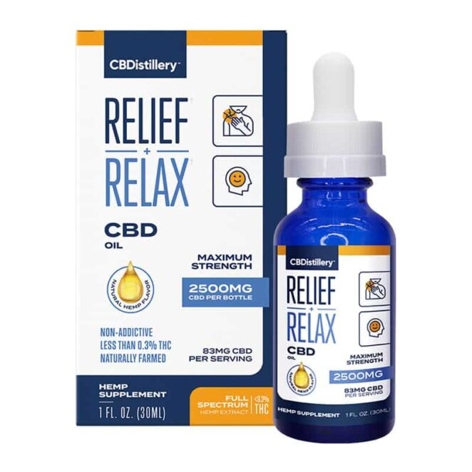 CBDistillery-Full-Spectrum-2500-mg-Relief-Relax-CBD-Oil-Tincture-Box