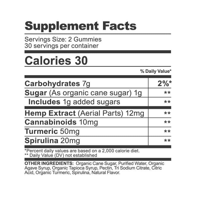 CBDfx CBD Gummies with Turmeric and Spirulina Supplement Facts