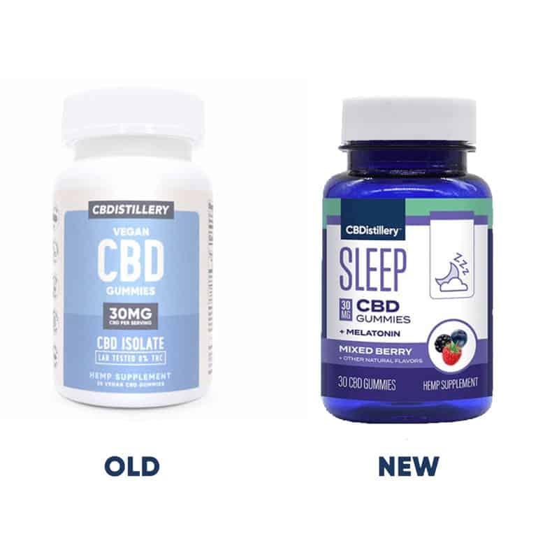 CBDistillery Nighttime PM CBD Gummies with Melatonin - Broad Spectrum Sleep Formula Old Label New Label Old Formula