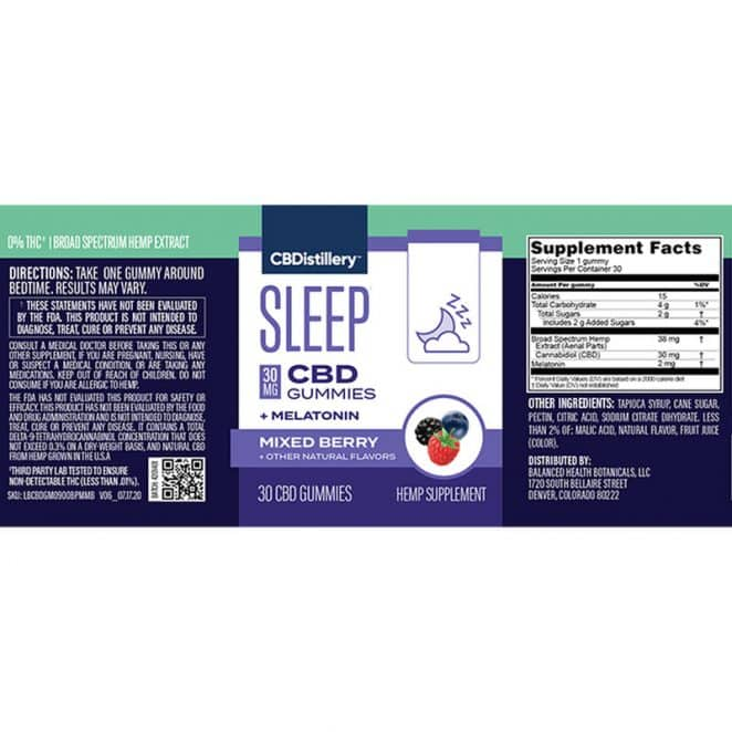 CBDistillery Nighttime PM CBD Gummies with Melatonin - Broad Spectrum Sleep Formula Product Label New