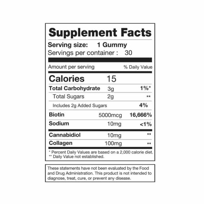 Soji Health Ultimate CBD Beauty Gummies Supplement Facts